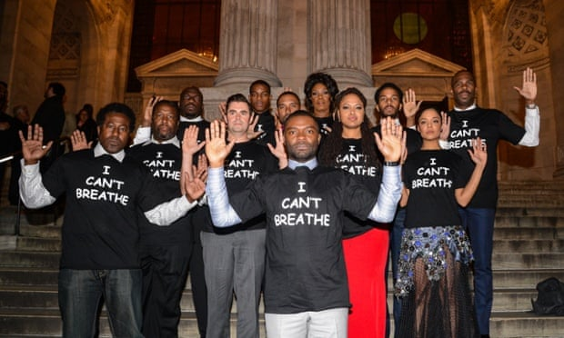 The cast of the film Selma wear T-shirts with the phrase 'I can't breathe' in protest at the death of Eric Garner. Photograph: Ray Tamarra/GC Images