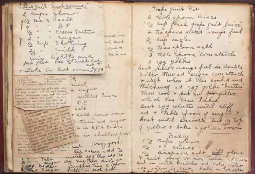 A recipe book belonging to Stella Pollock, Jackson's mother.