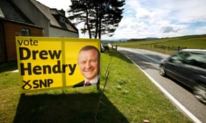 A poster for the SNP candidate, Drew Hendry.