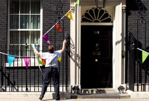 Olympic bunting is fixed to 10 Downing Street.