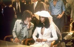 Bianca Perez Morera de Macias ties the knot with Mick Jagger in 1971, dressed in a Saint Laurent suit.