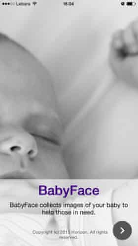 BabyFace is collecting photos of newborns' feet, eyes and ears.