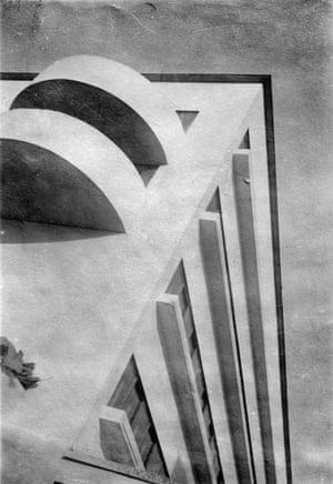A corner detail of Narkomfin the block by M A Ilyin.