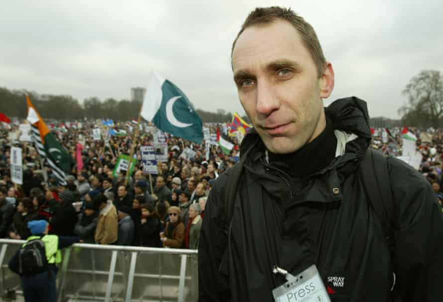 Will Self at an anti-war rally in Hyde Park, London, February 2003.