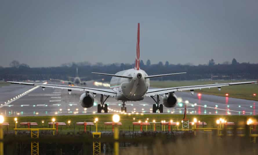 A plane preparing to take off at Gatwick Airport