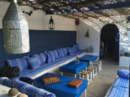 The shady courtyard at Résidence Le Kaouki, Essaouira, Morocco.