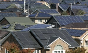 Rooftops of solar powered houses are pictured in Ota, 80 km northwest of Tokyo in this October 28, 2008 file photo.