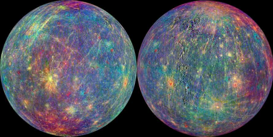 Images of the planet Mercury from the Messenger Spacecraft before it crashed onto the planet.