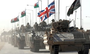 British armoured vehicles roll out of Basra, Iraq, in 2007