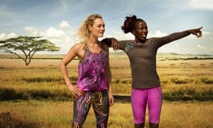 Lornah Kiplagat (and model) showing off her new running range