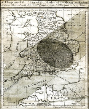 Edmond Halley's corrected map of the 1715 eclipse.