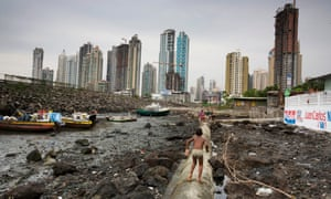 Skyscrapers mix in with the slums Boca la Caja in Panama City - a property boom alongside poverty.