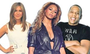Aniston, Beyoncé and Jay Z