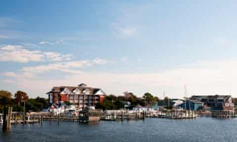 The village of Ocracoke from the ferry.