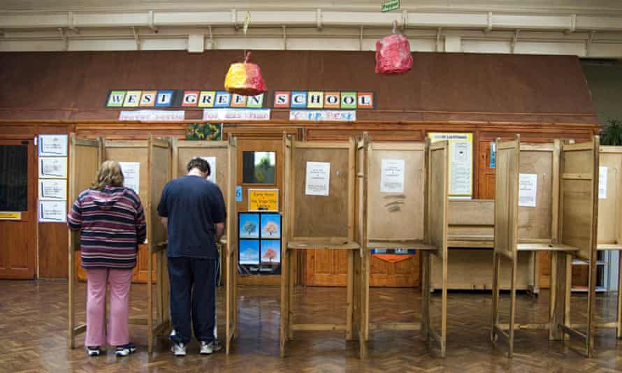 A polling station in Haringey, London