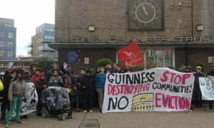 Residents and activists gathered at the Guinness Trust estate in Brixton earlier this year.