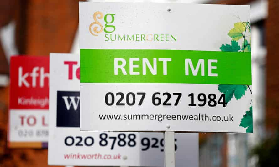 Estate agent boards in London, where the average monthly rent for a two-bed property is now £2,216.