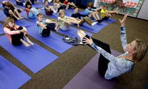 A yoga class in Encinitas, California.