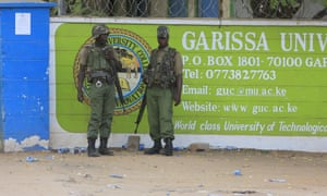 Police officers in front of Garissa University College.
