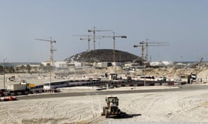 The construction site of the Louvre Abu Dhabi on Saadiyat Island.