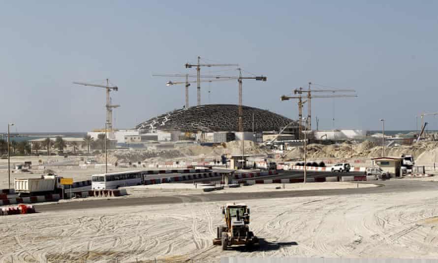 The construction site of the Louvre Abu Dhabi on Saadiyat Island.