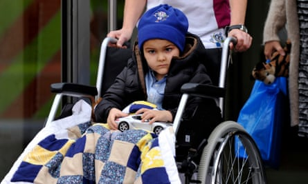 Ashya King leaves after finishing his treatment at the Proton Therapy Centre in Prague in October last year.