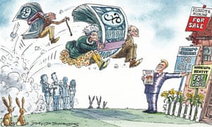 Cartoon by David Simonds showing pensioners jumping queue to buy a house