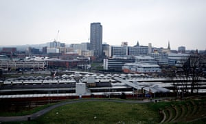 The city centre skyline in Sheffield, South Yorkshire.