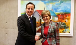 Scotland's first minister, Nicola Sturgeon, with David Cameron in her office at the Scottish parliament earlier this year.