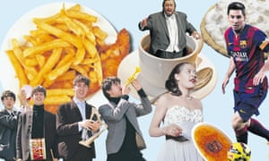 Montage of food and musicians