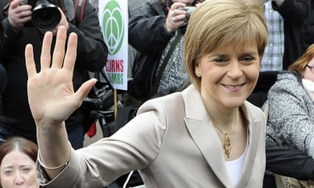 Scotland's first minister Nicola Sturgeon joins a rally against the Trident nuclear programme in the