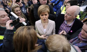 Nicola Sturgeon joins protesters taking part in a rally against the Trident nuclear programme in the