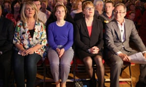 Sally Lindsay, Justine Miliband, Eddie Izzard and Ben Elton at the Labour party rally.