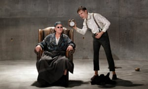 Colin Friels (Hamm) and Luke Mullins (Clov) in Melbourne Theatre Company's Endgame.