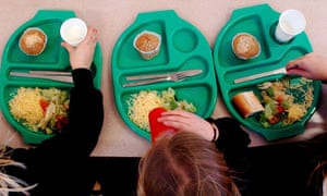 Pupils eating their school meal, but 69% of teachers reported seeing children come to school hungry.