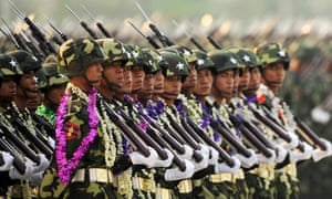 Burmese soldiers on military parade.