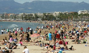 The beach at Salou in Catalonia, Spain, on Saturday.