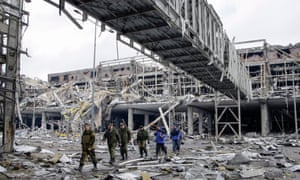 The ruins of Donetsk airport. Many Ukrainians have left for Poland because of the destruction of war