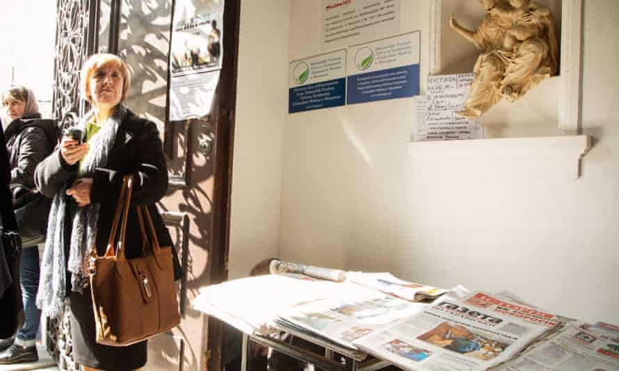 Ukrainian newspapers for sale in the church after Sunday mass.