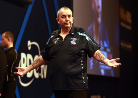 Taylor during the PDC world darts final against Gary Anderson at Alexandra Palace.