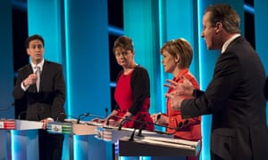 Ed Miliband, Leanne Wood, Nicola Sturgeon and David Cameron at the debate. Photgraph: Reuters