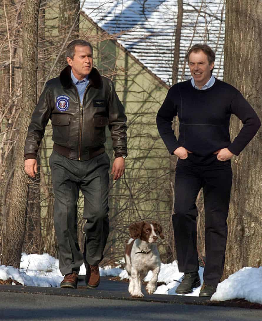 George W Bush and Tony Blair take Spot for a walk