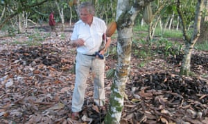 Mike Thresh on a visit to a cocoa plantation.