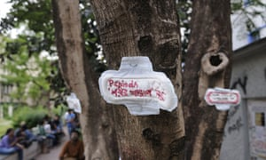 A sanitary towel protest in Kolkata, India: the message reads 'menstruation is not an illness'