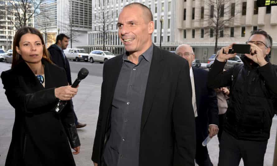 Yanis Varoufakis outside IMF headquarters on Sunday