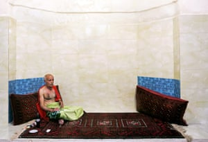 A customer relaxes after a bath at the Nezafat public bathhouse in Tabriz, Iran.