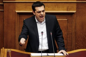 Alexis Tsipras delivers a speech to parliament