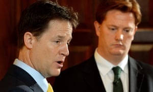 Nick Clegg briefs the media on Tuesday morning as chief secretary to the Treasury Danny Alexander looks on.