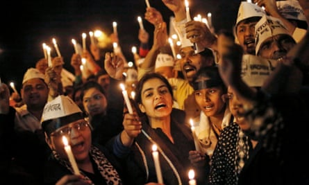 A candlelit vigil in Delhi, in support of the victim of an alleged rape by an Uber driver.