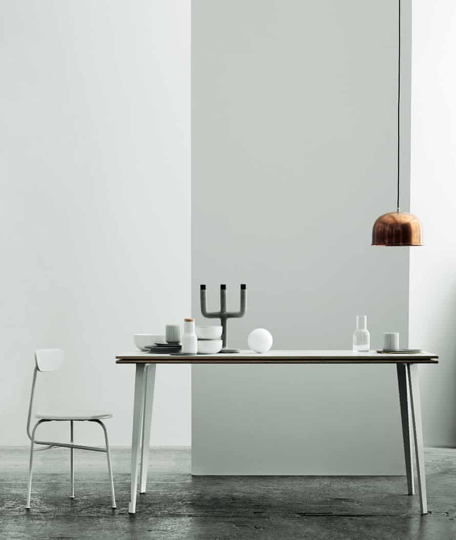 """Menu Afteroom chair, £180, and Menu GM15 pendant copper light, £169, both from <a href=""""http://nest.co.uk"""">nest.co.uk</a>. Menu Weight Here L candleholder, £94, <a href=""""http://royaldesign.co.uk"""">royaldesign.co.uk</a>."""